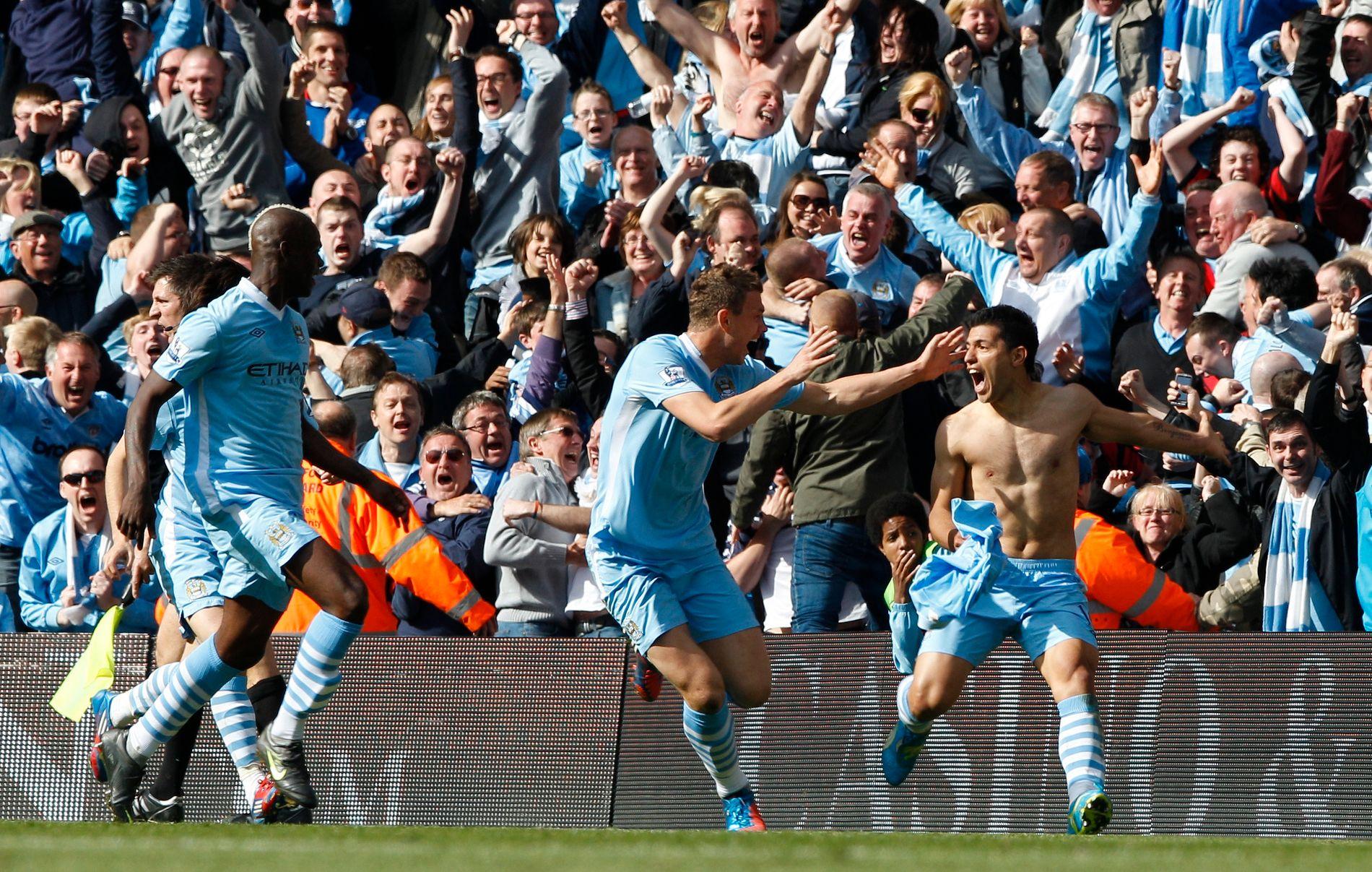 VILL JUBEL: Gledesscenene var enorme da Serigo Aguero sikret ligatittelen på overtid for Manchester City i 2012.