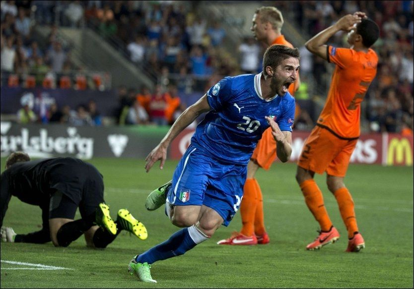 MATCHVINNER: Fabio Borini viste ingen nerver da han sendte Italia til EM-finale på bekostninger av Nederland. Foto: AFP PHOTO / JACK GUEZ
