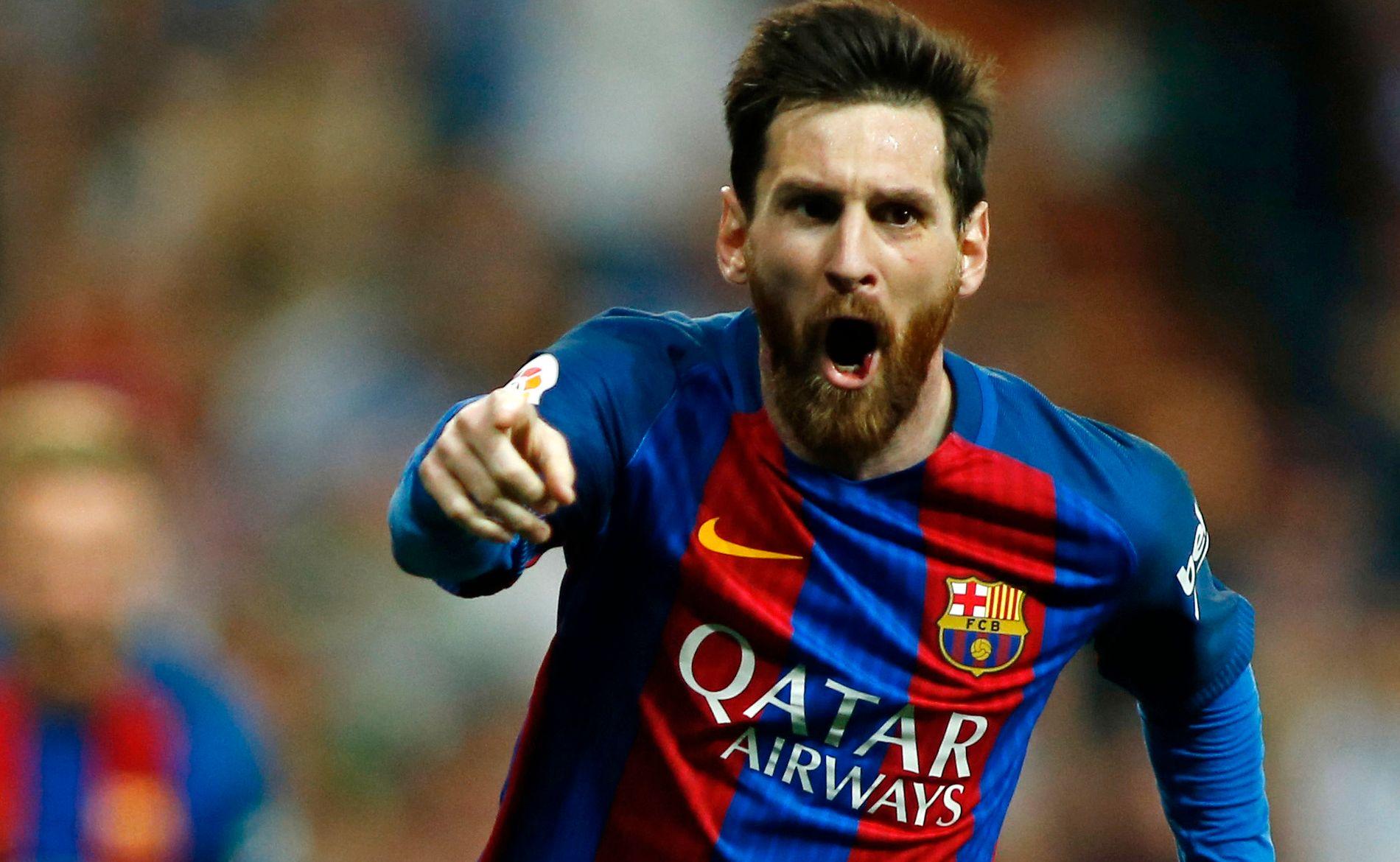 FEIRER: Lionel Messi jubler etter å ha scoret seiersmålet borte mot Real Madrid i april. I kveld kan argentineren føre Barcelona til cupfinaletriumf mot Alavés.