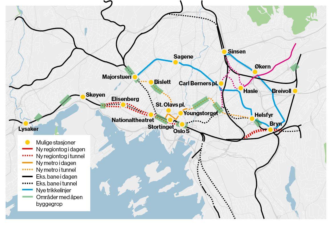 SVEITSEROST: Oslo kan få nye tunneler både for tog og t-bane. Denne skissen bygger på planene som Ruter, Jernbaneverket og Statens Vegesen la fram i 2015.