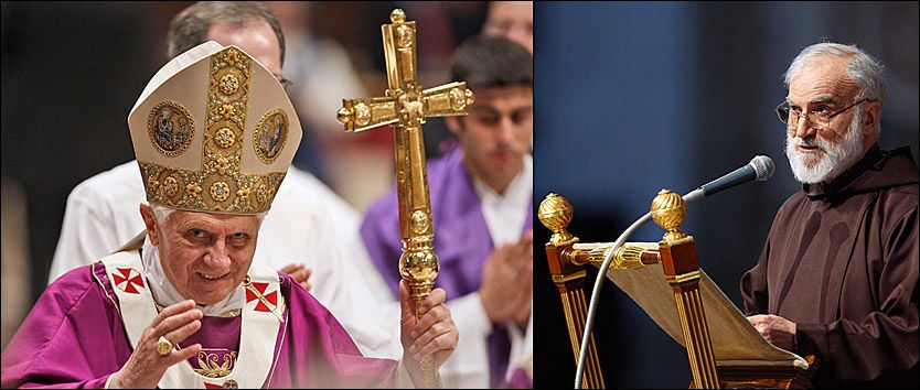 SLÅR TILBAKE: Fader Raniero Cantalamessa (t.h.) er Vatikanets egen predikant og som sådan den eneste som kan predike for pave Benedikt (t.v.). Foto: AP Foto: