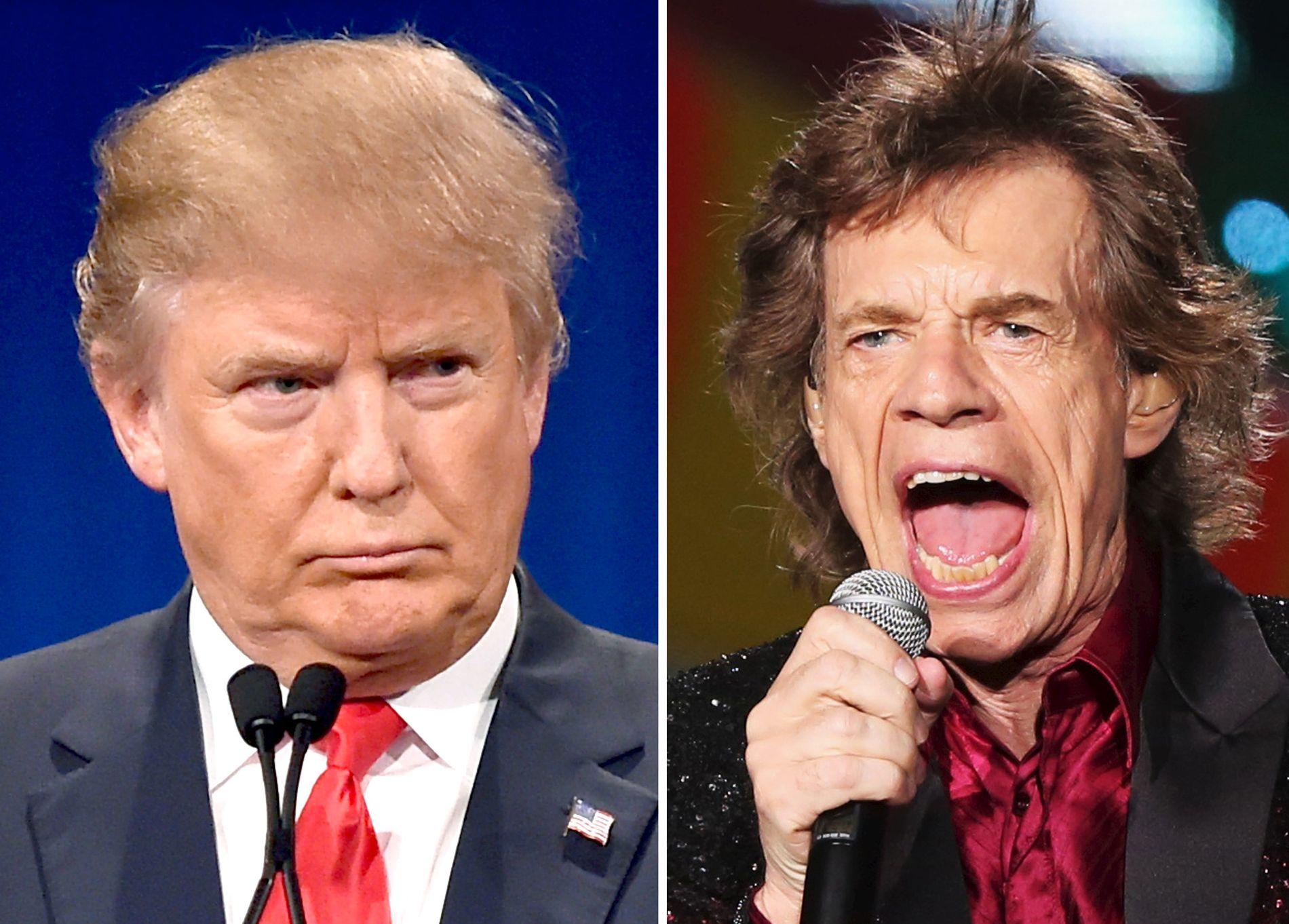 IKKE GJENSIDIG: Stones-vokalist Mick Jagger (t.h.) vil ha seg frabedt at Donald Trump spiller låtene deres.