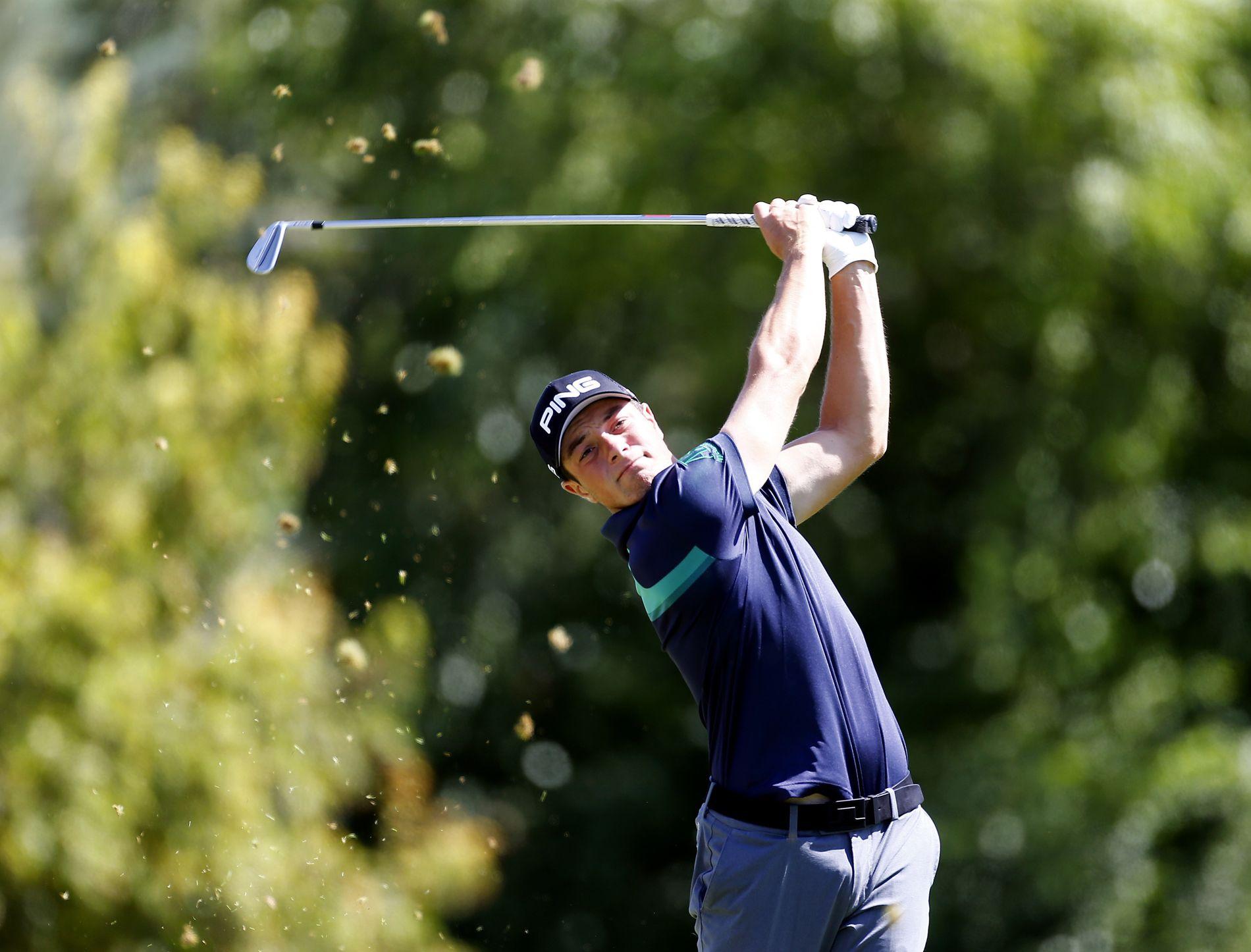 MOT GOLFTOPPEN: Viktor Hovland åpnet solid i den nest siste turneringen på veien mot en mulig plass på PGA-touren.