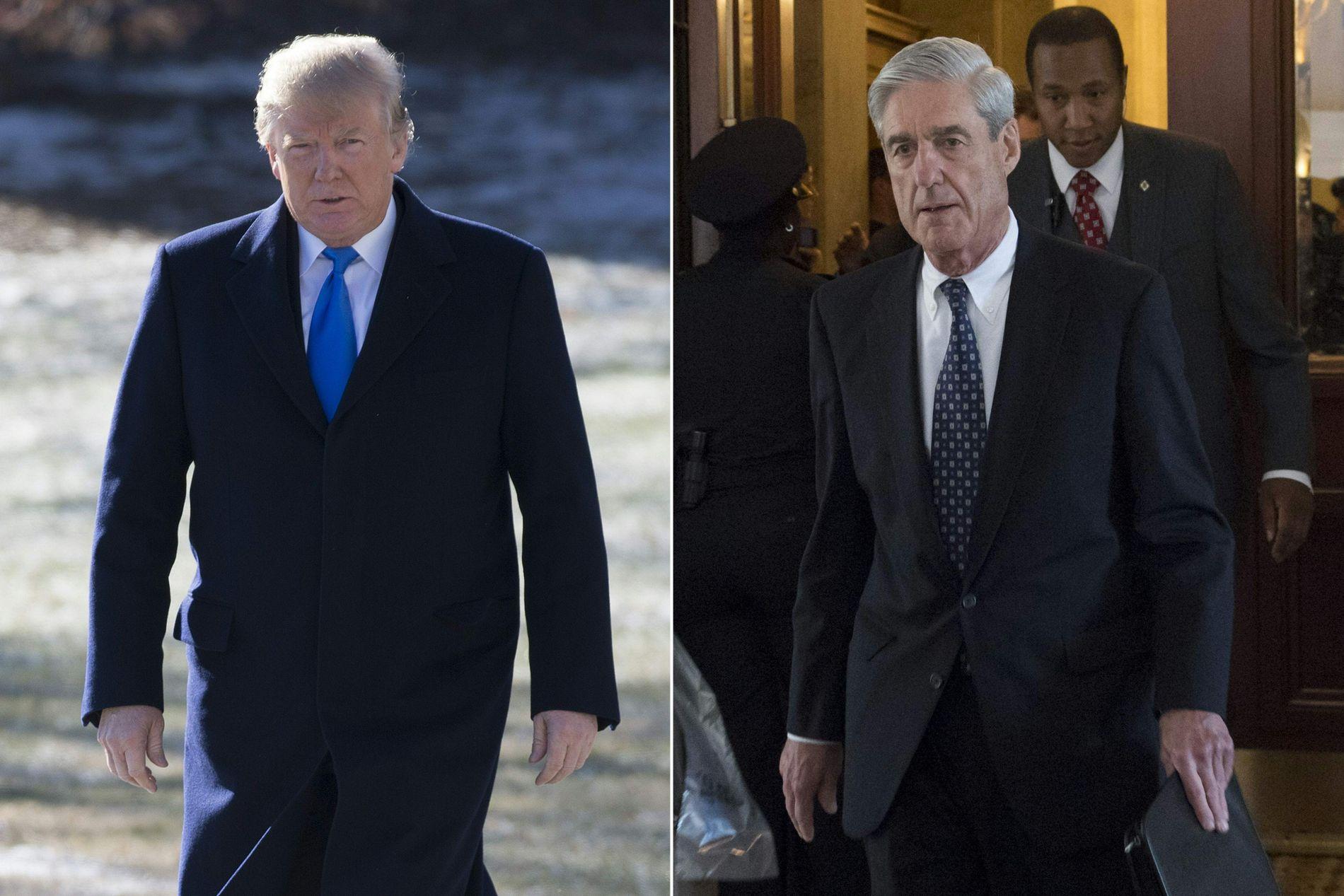 STRID: USAs president Donald Trump og FBI er dypt uenig om et kontroversielt republikansk notat om Russland-etterforskningen. Til høyre er etterforsker Robert Mueller, som leder Russland-etterforskningen.