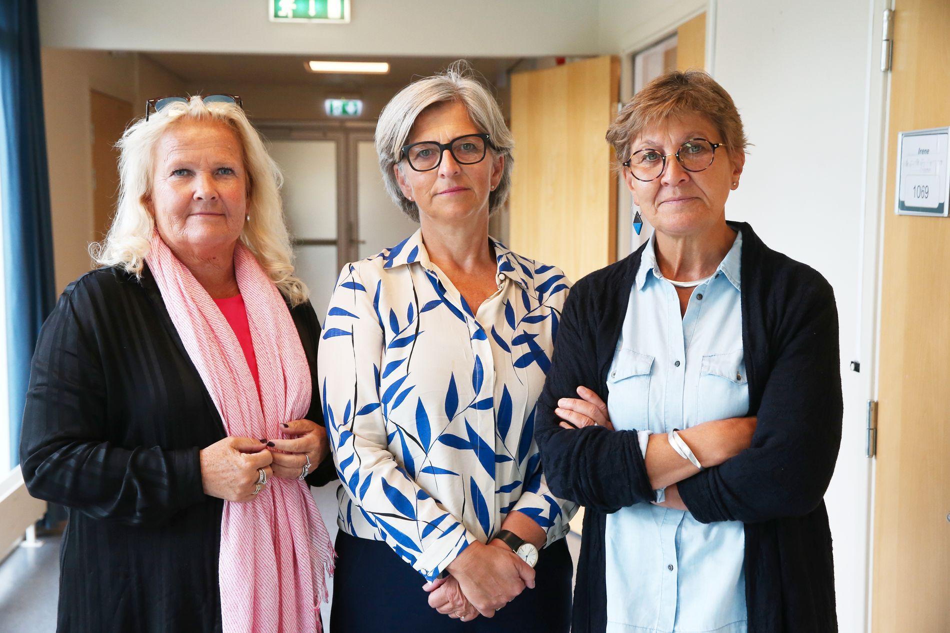 TIL KAMP: Lederne Lizzie Ruud Thorkildsen (Delta), Eli Gunhild By (Norsk Sykepleierforbund) og Mette Nord i Fagforbundet.