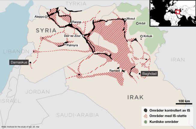 UNDER IS-KONTROLL: IS kontrollerer nå over halvparten av de befolkede områdene Syria etter sine erobringer de siste dagene. Store deler av Irak og Syria består av ubebodd ørken, derfor er de IS-kontrollerte områdene større enn de kan se ut som ved første øyekast.