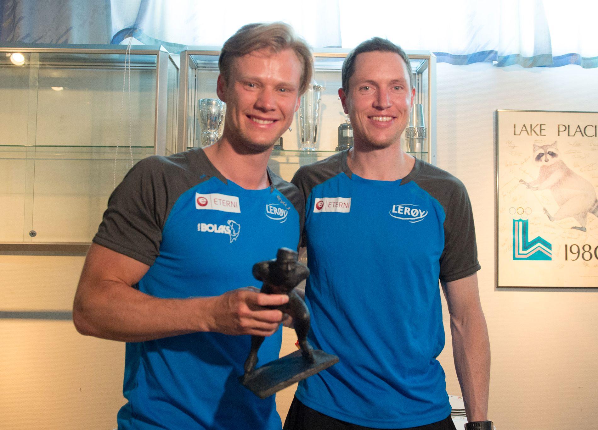 HEDRET: Håvard Holmefjord Lorentzen (t.v.), her sammen med treneren Jeremy Wotherspoon som tidligere har vunnet Oscarstatuetten.