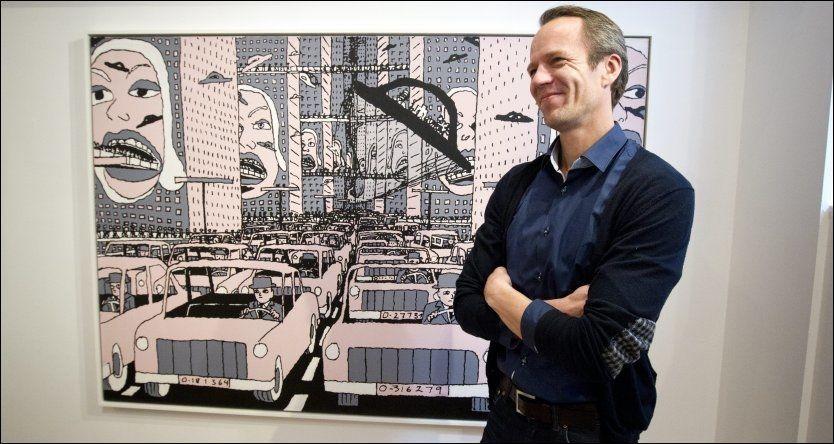 OPTIMISTISK: Sigmund Bakken ved Bakken Fine Art i Oslo tror det finnes kjøpere som er villig til å betale 450 000 kroner for Pushwagners maleri «Hjemover» fra 1997.