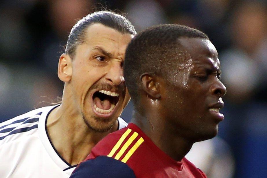 FÅR KRITIKK: Zlatan Ibrahimovic skjelte ut Real Salt Lake-stopper Nedum Onuoha under kampen som LA Galaxy vant 2–1.