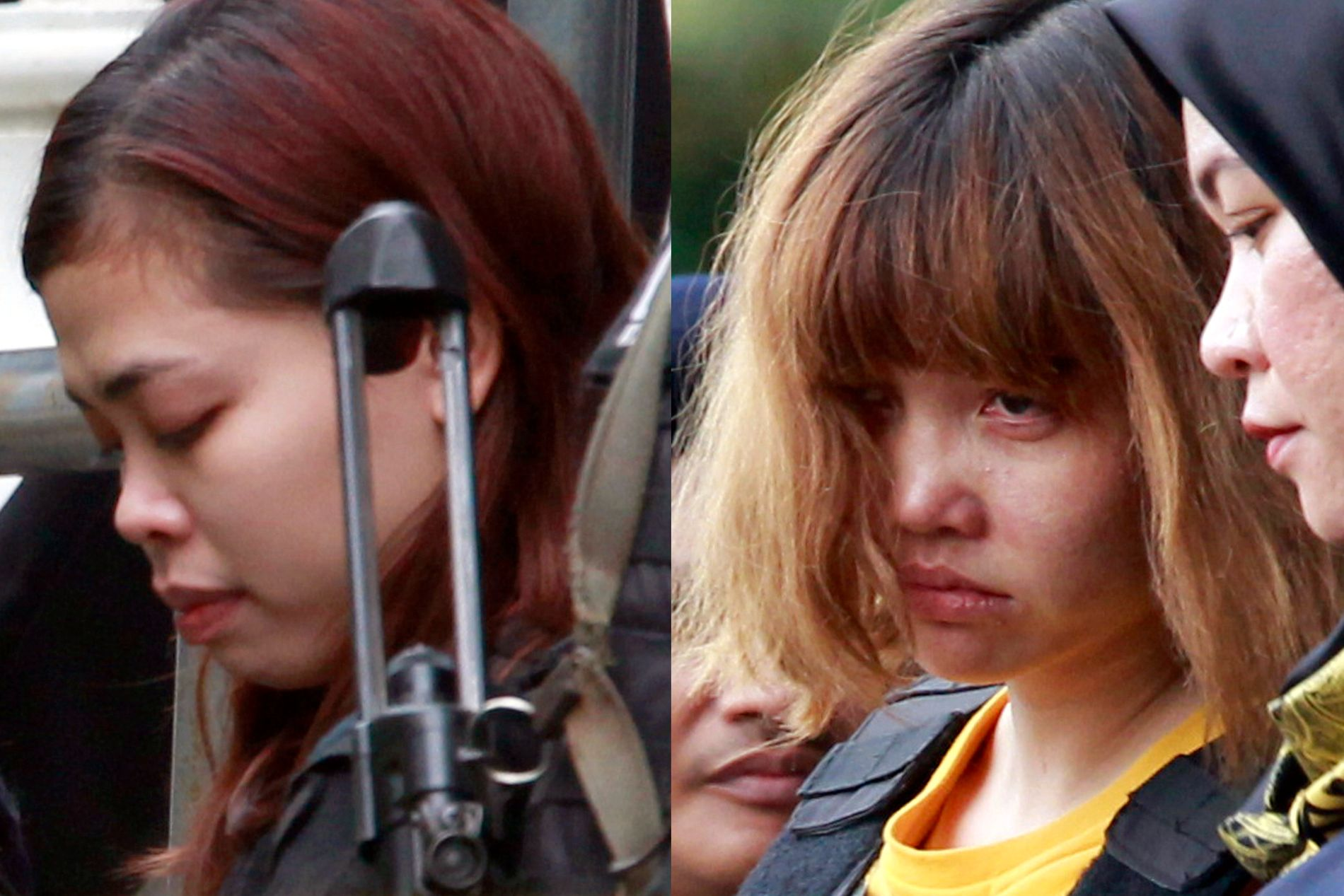 TILTALT: Disse to kvinnene, Doan Thi Huong (t.h.) og Siti Aisyah (t.v.), står tiltalt for å ha drept Kim Jong-nam. AP Photo/Daniel Chan