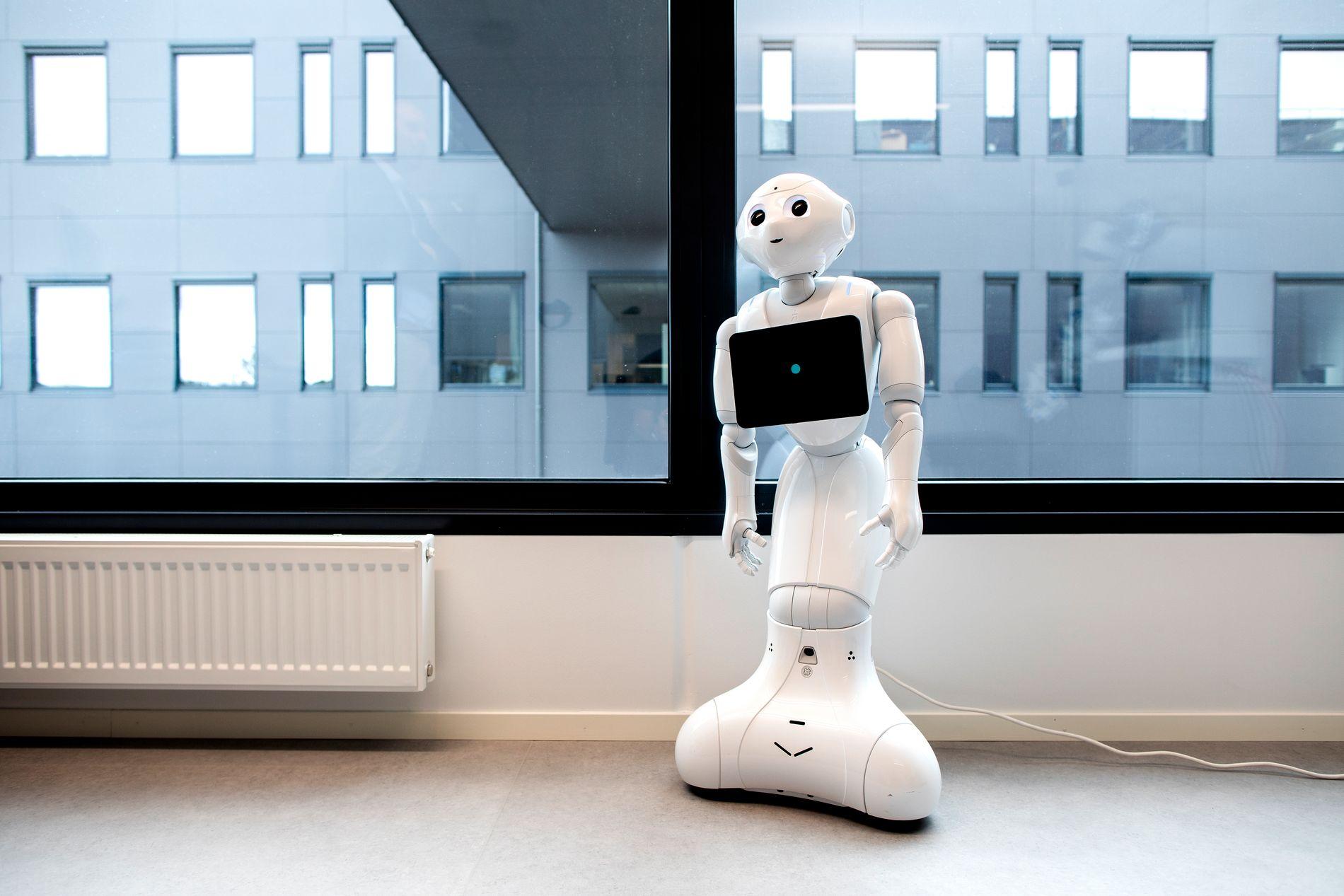 ROBOTVENN: Dette er Pepper, en robot som i fremtiden kan være sammen med pasienten, kommunisere med eldre og være en venn. Den kan snakke og forstår kroppsspråk. I fremtiden vil den også kunne tolke følelser.