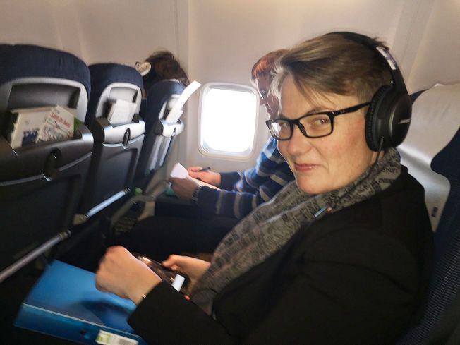 I SPISSEN: Klima- og miljøminister Tine Sundtoft på vei til miljøkonferansen i Paris i forrige uke.