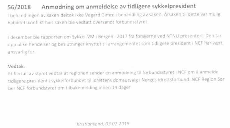 BER OM KJAPT SVAR: Her er styrevedtaket fra Region Sør i sykkelforbundet.
