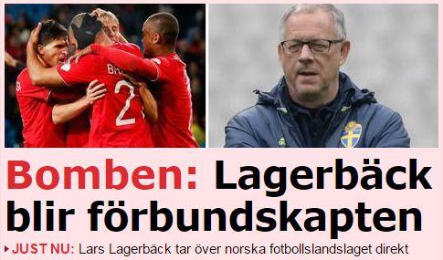 OVERRASKET: Slik reagerer Aftonbladet på at Lars Lagerbäck er ny norsk landslagssjef.