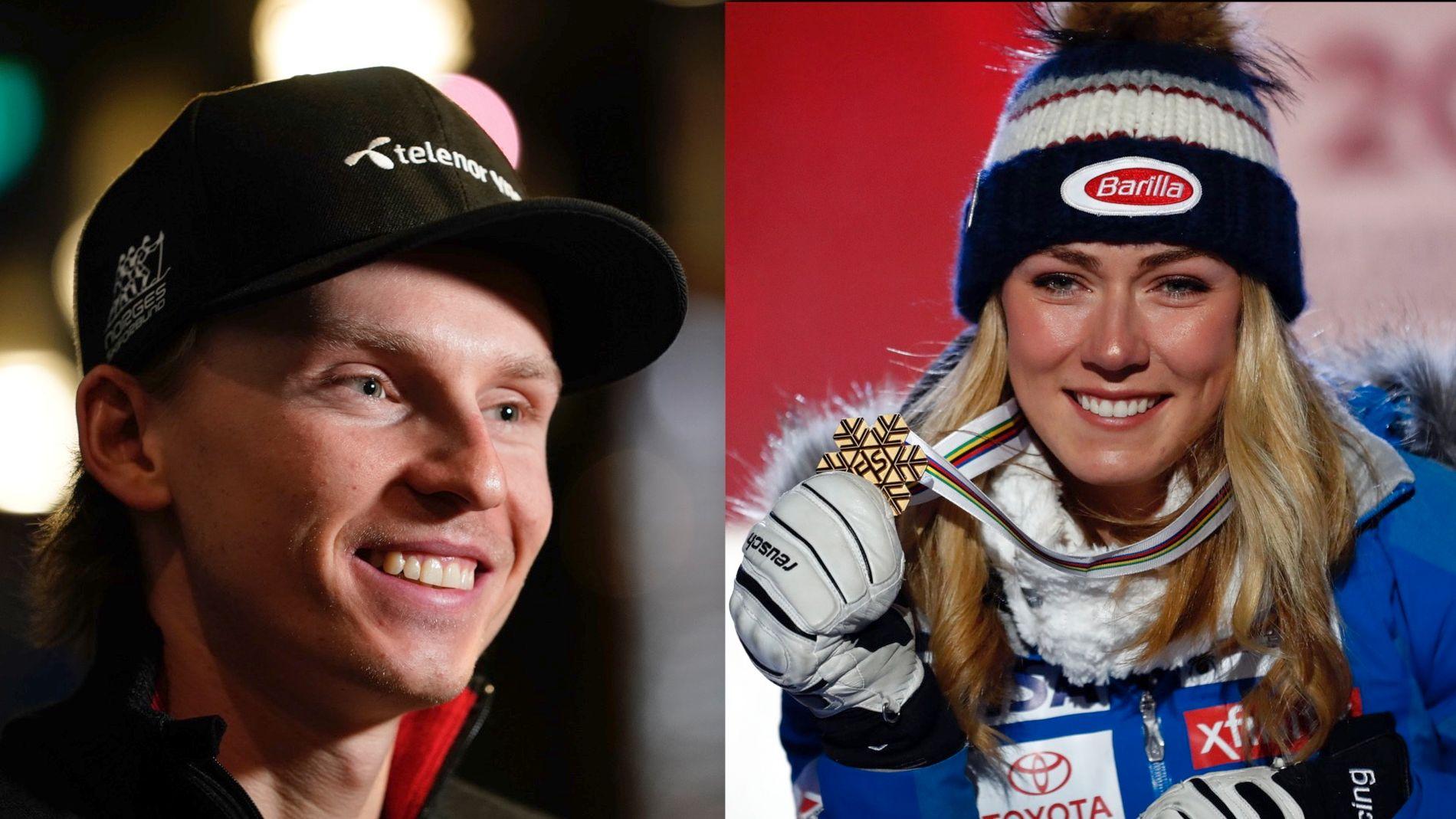 KJØRTE SAMMEN: På Trysilfjellet mandag møttes Henrik Kristoffersen og Mikaela Shiffrin for sammen å forberede seg best mulig til VM-avslutningen i Åre.