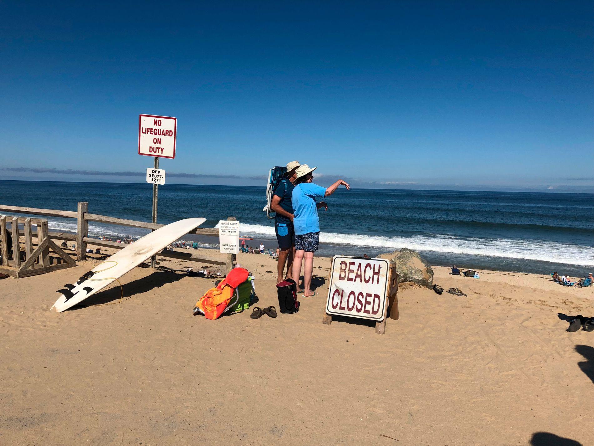STENGT: Folk ser utover stranden Newcomb Hollow Beach i USA der en 26 år gammel mann ble bitt av hai lørdag. Han ble bekreftet omkommet på sykehuset.