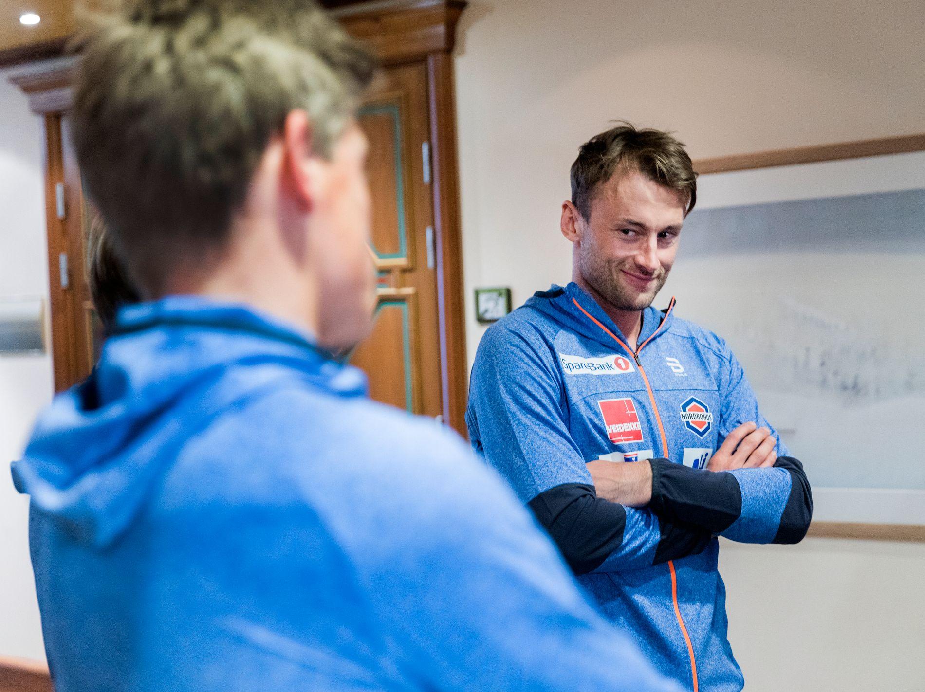 NY SPONSOR: For Petter Northug, som var i godt humør da langrennslandslagene ble presentert på Holmenkollen i Oslo for snaue to uker siden.