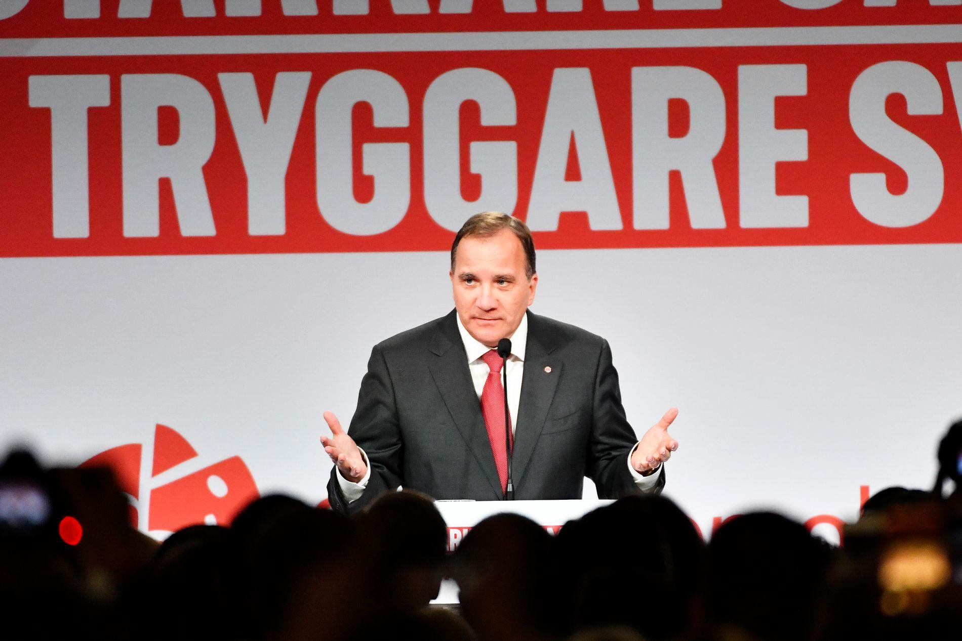Stefan Löfven mener den naturlige løsningen etter valget i Sverige er at han fortsetter som statsminister.  Foto Jonas Ekströmer /TT / NTB scanpix