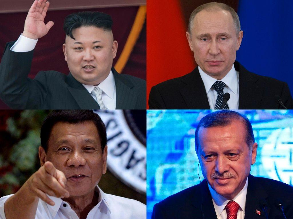 HYLLES: De ommstridte statslederne Kim Jong Un, Valdimir Putin, Rodrigo Duterte og Recep Erdogan får alle rosende omtale av president Donald Trump.