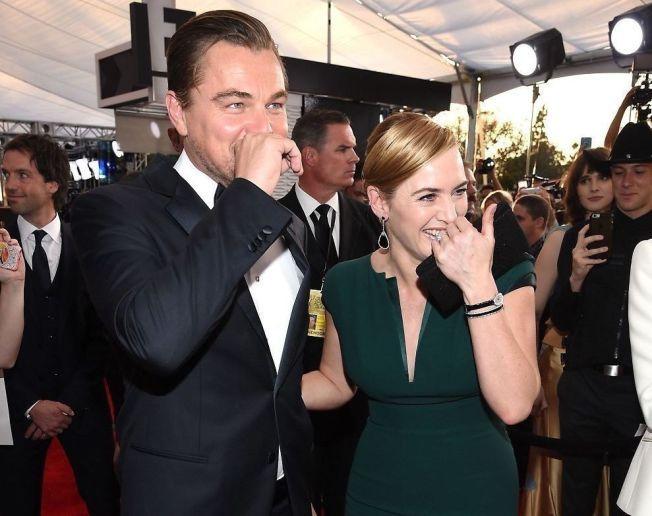 GOD STEMNING: Leonardo DiCaprio og Kate Winslet på Screen Actors Guild Awards i The Shrine Auditorium i Los Angeles nylig.