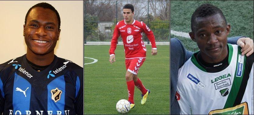 STORE TALENTER: Franck Boli, Erdin Demir og Kevin Beugre står foran sine debuter i eliteserien. Du kan like godt merke deg navnene med en gang. Foto: stabak.no, brann.no og honefossbk.no