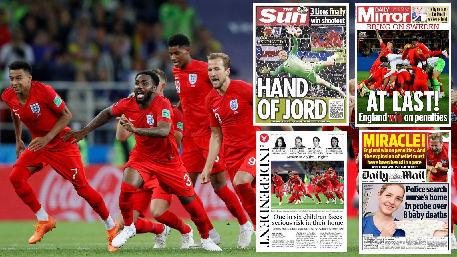 GLEDESRUS: Både de engelske spillerne og de engelske avisene var overlykkelige etter tirsdagens seier.