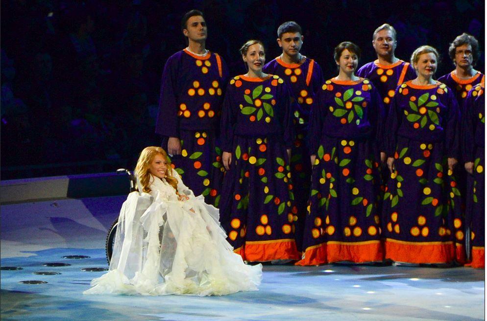 NEKTET INNREISE: Den russiske deltakeren, Julija Samojlova, har blitt nektet innreise til Ukraina. Her opptrer hun under Paralympics i 2014.