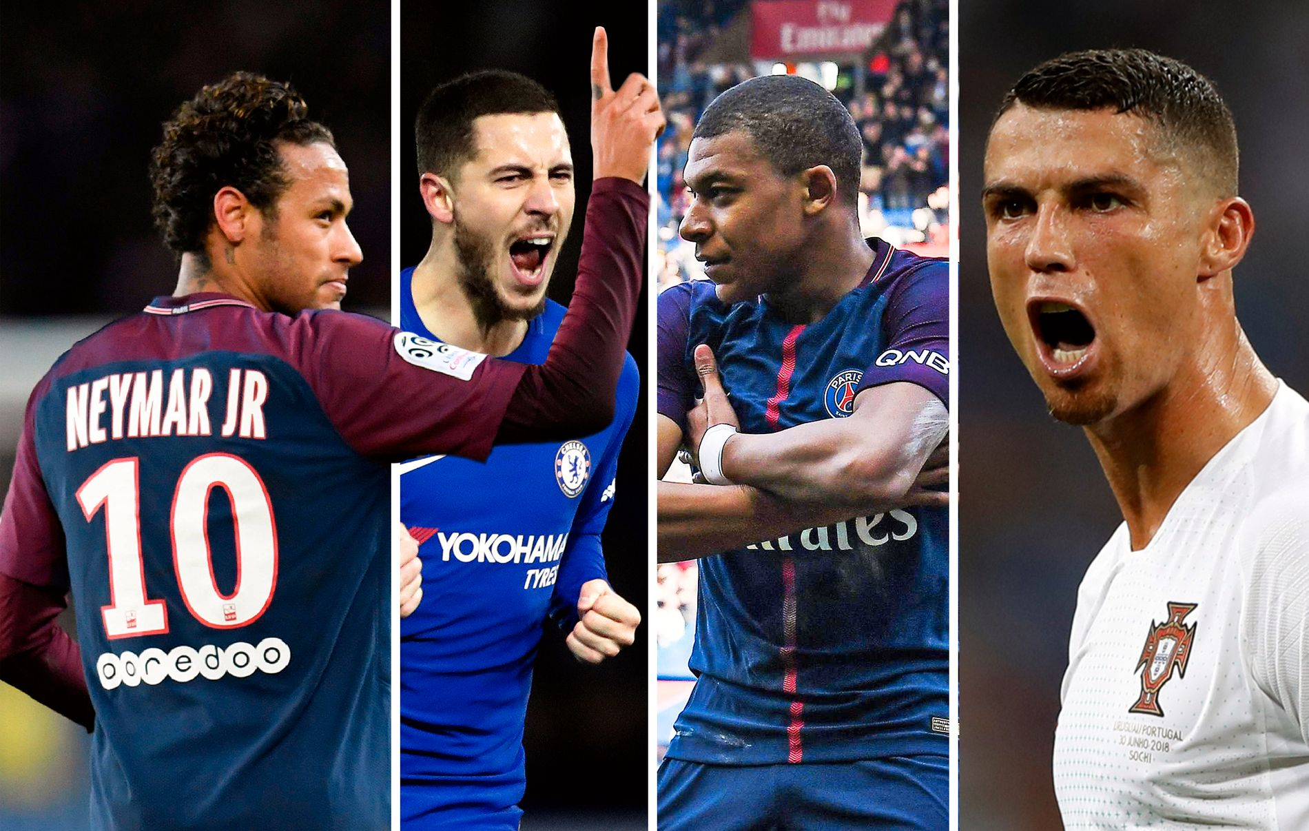KANDIDATER: Cristiano Ronaldo (t.h.) er ferdig, men hvem kommer inn? Neymar, Eden Hazard og Kylian Mbappé er blant de heteste kandidatene.