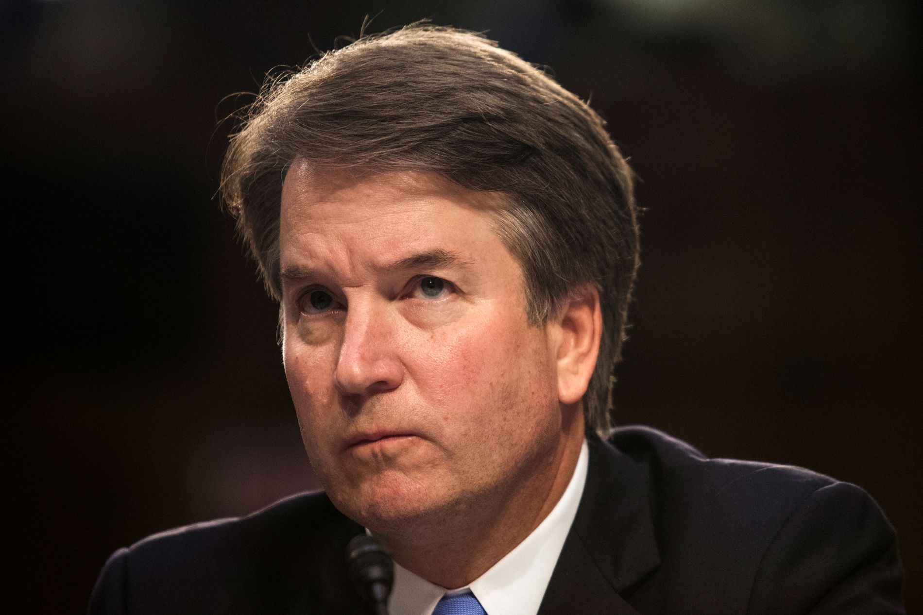 ANKLAGET: Brett Kavanaugh, her under senathøringen 6. september.