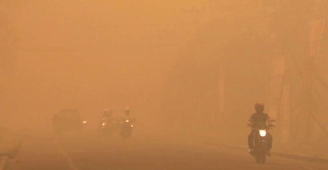 DÅRLIG SIKT: I byen Palangkaraya på øya Borneo sørger røyken for dårlig sikt og en farlig trafikksituasjon. Det er beregnet at årets branner i Indonesia har ført til klimagassutslipp tilsvarende hele Tysklands årlige utslipp, ifølge Regnskogfondet.