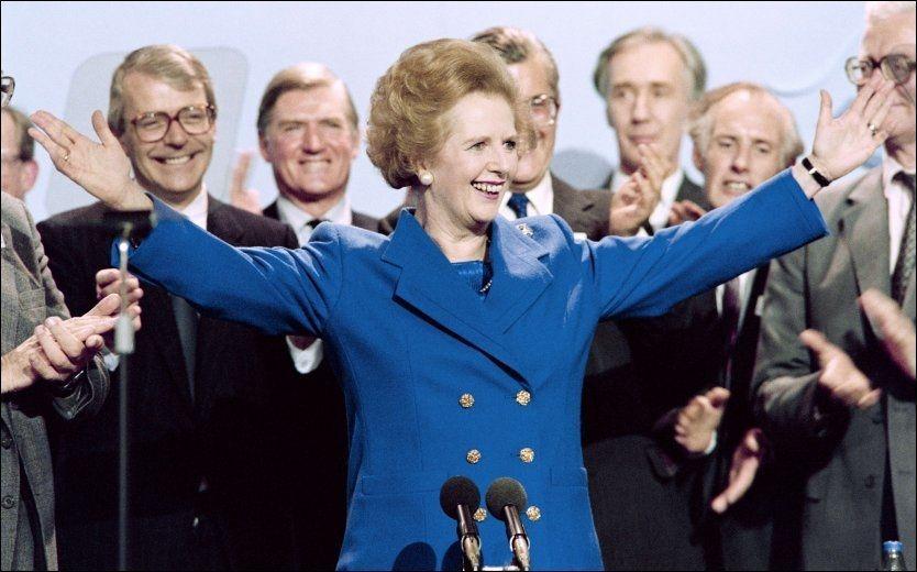 STATSMINISTER: Margaret Thatcher var Storbritannias første kvinnelige statsminister. Her fra landsmøtet i det konservative partiet i oktober1989, året før hun gikk av som partileder og statsminister. Foto: Afp