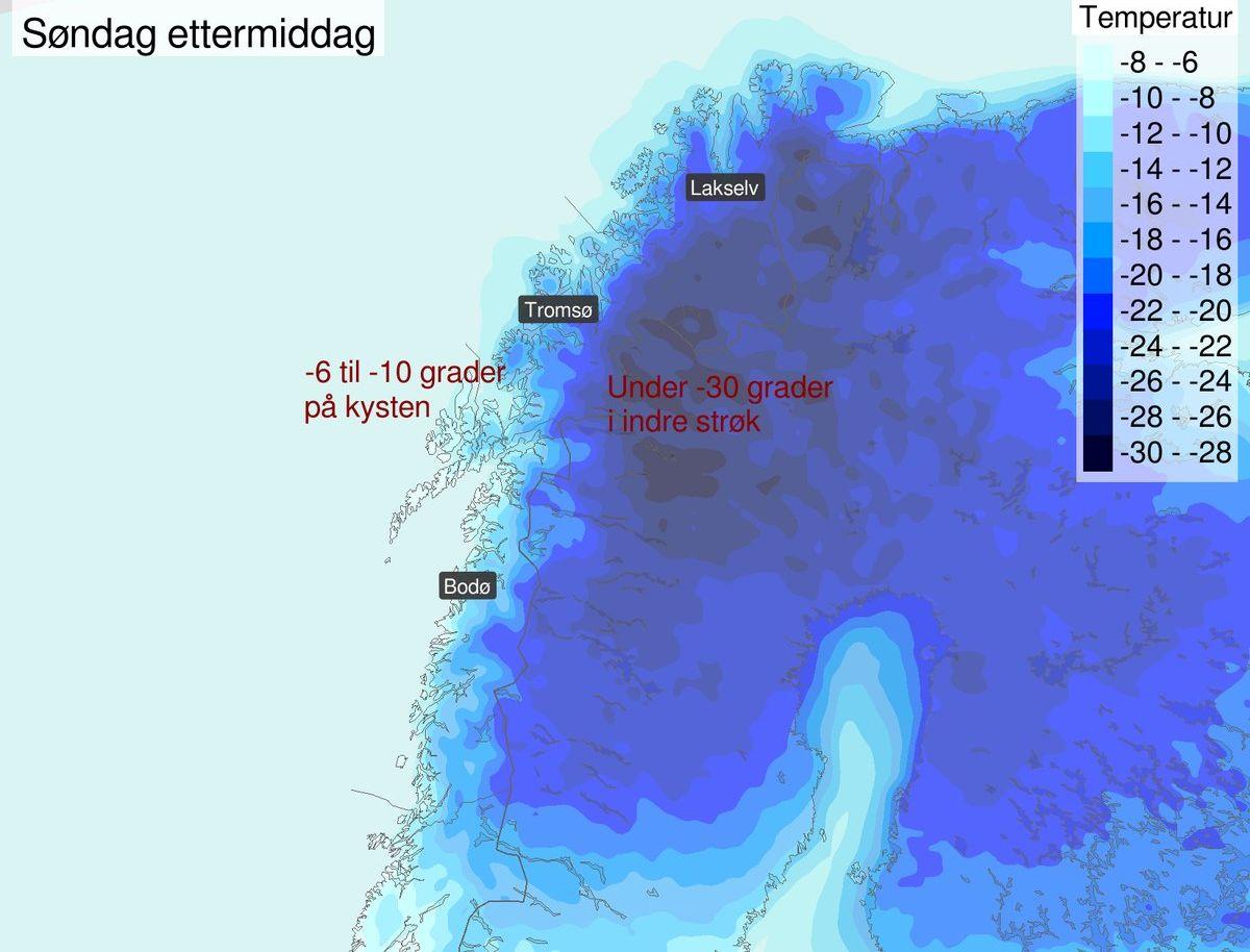 BRRRRR: Iskalde luftmasser vil prege Nord-Norge de kommende dagene.