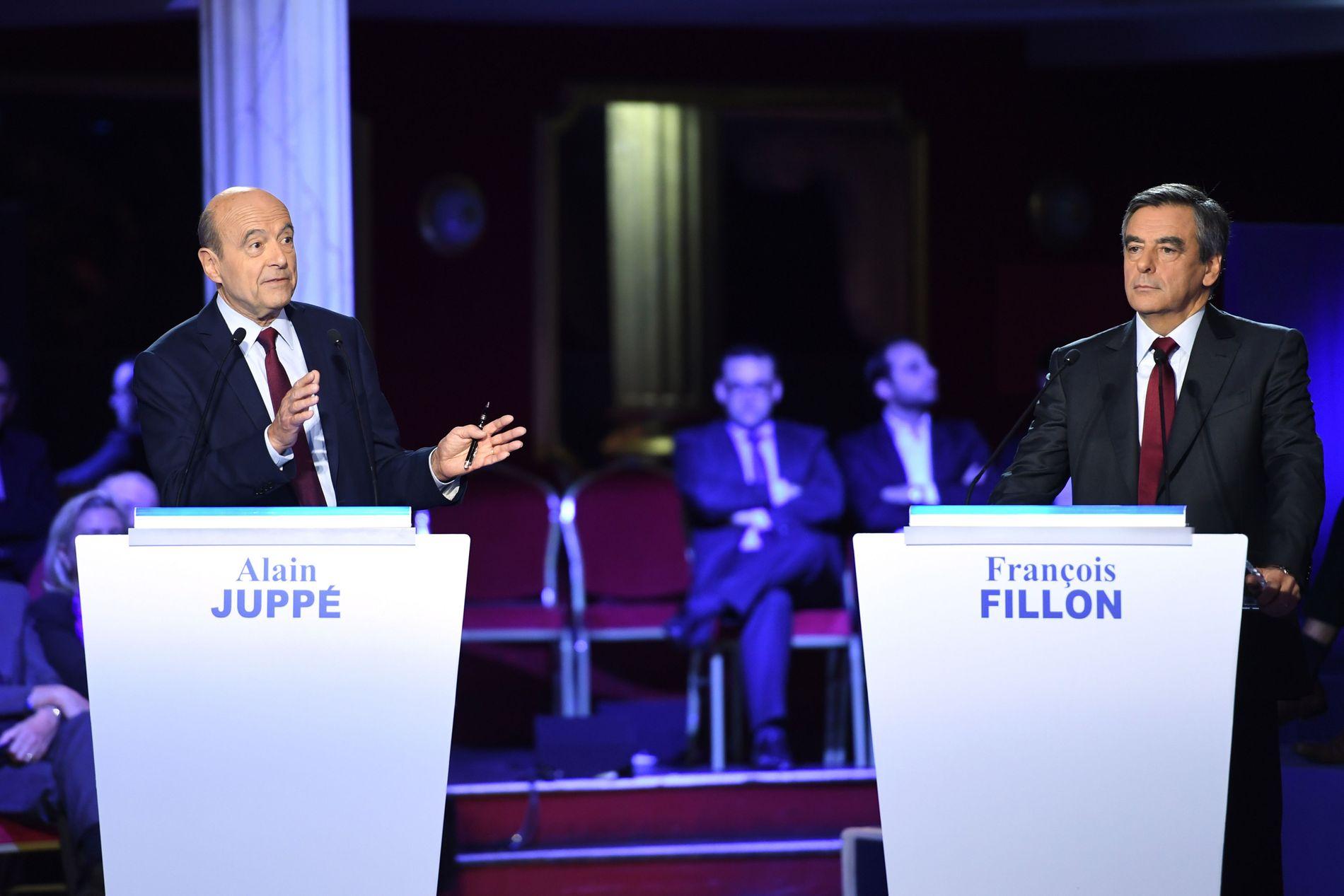 TO STATSMINISTRE: Alain Juppe (t.v.) og Francois Fillon har begge ledet regjeringer i Frankrike.