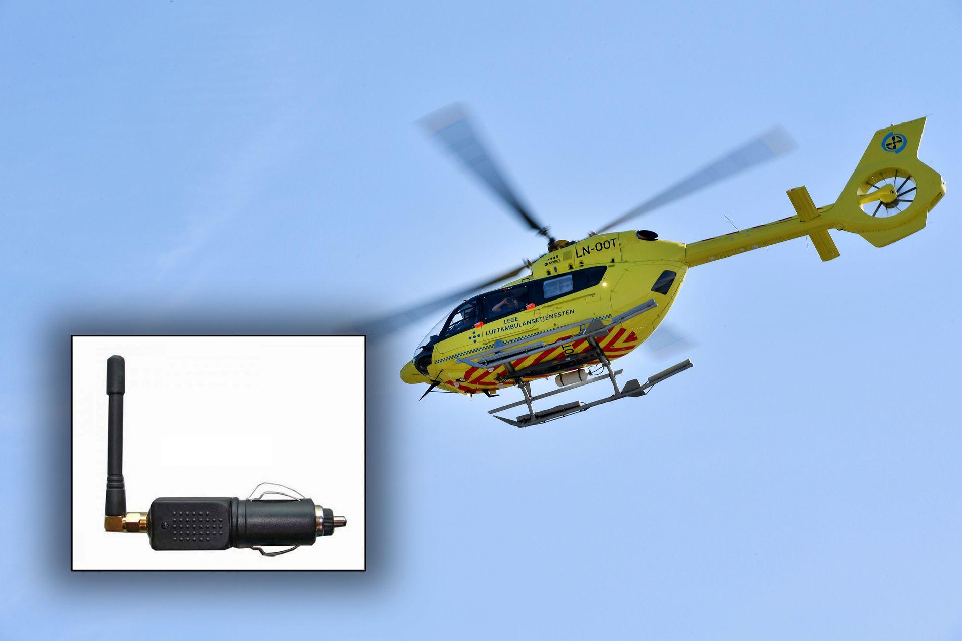 TILTAKENDE PROBLEM: En liten GPS-jammer, som kobles inn i sigarett-tenneren i kjøretøyet, kan skape store problemer for helikoptre.