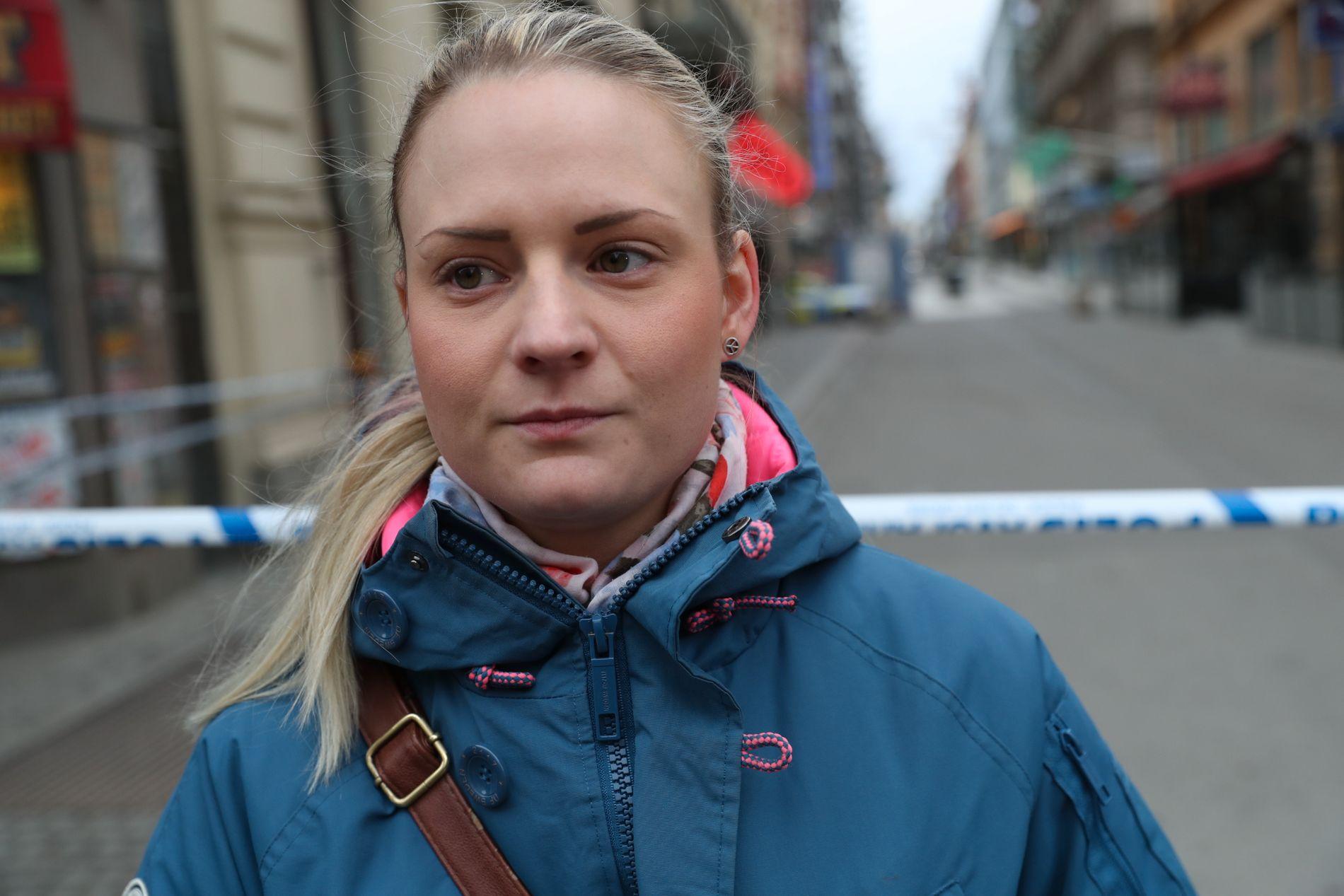 PREGET: Lovisa Colm (27) er glad for at ingen hun kjenner var til stede i Drottninggatan under terrorangrepet. Foto: HALLGEIR VÅGENES