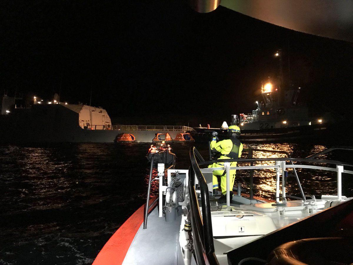 FREGATTEN: Den norske fregatten KNM «Helge Ingstad» har kollidert med en tankskip i Hordaland.