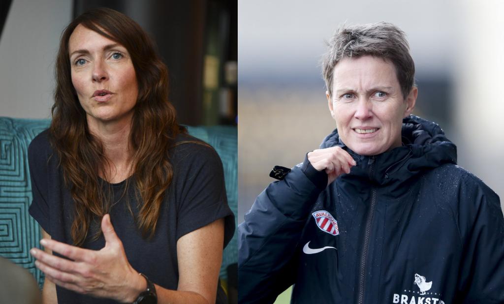 ERFARING MED HERREFOTBALL: Louise Rodgers Holte og Lena Tyriberget.