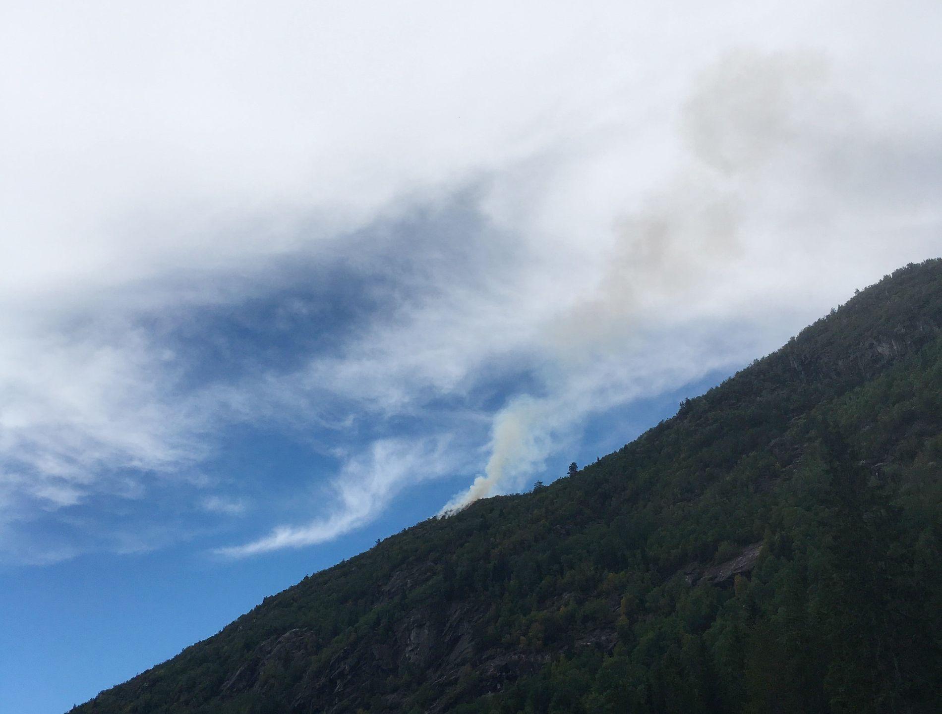 BRENNER: Det brenner flere steder i Telemark. Bildet viser røyk fra skogbrannen i Edland i Vinje kommune.