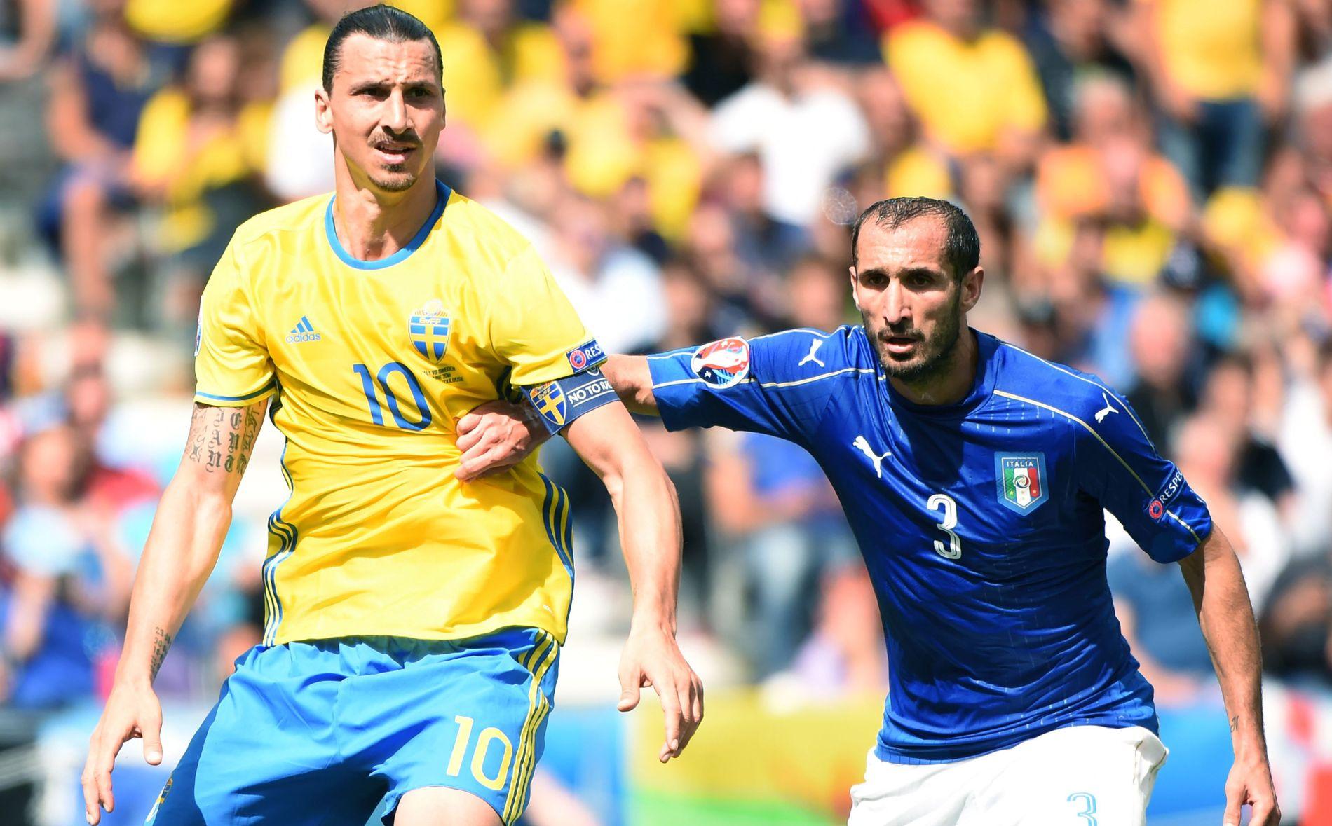 MUSKELMØTE: Zlatan Ibrahimovic (til v.) Giorgio Chiellini duellerte på Stadium Municipal i dag.