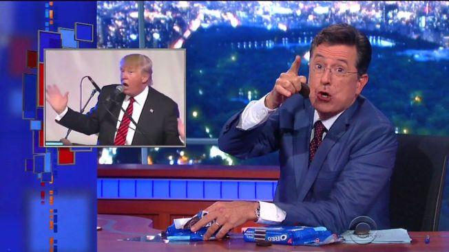 DEBUTERTE: Stephen Colbert hadde lovet å spøke med Donald Trump, og holdt sitt ord under premieren på «The Late Show» natt til onsdag.