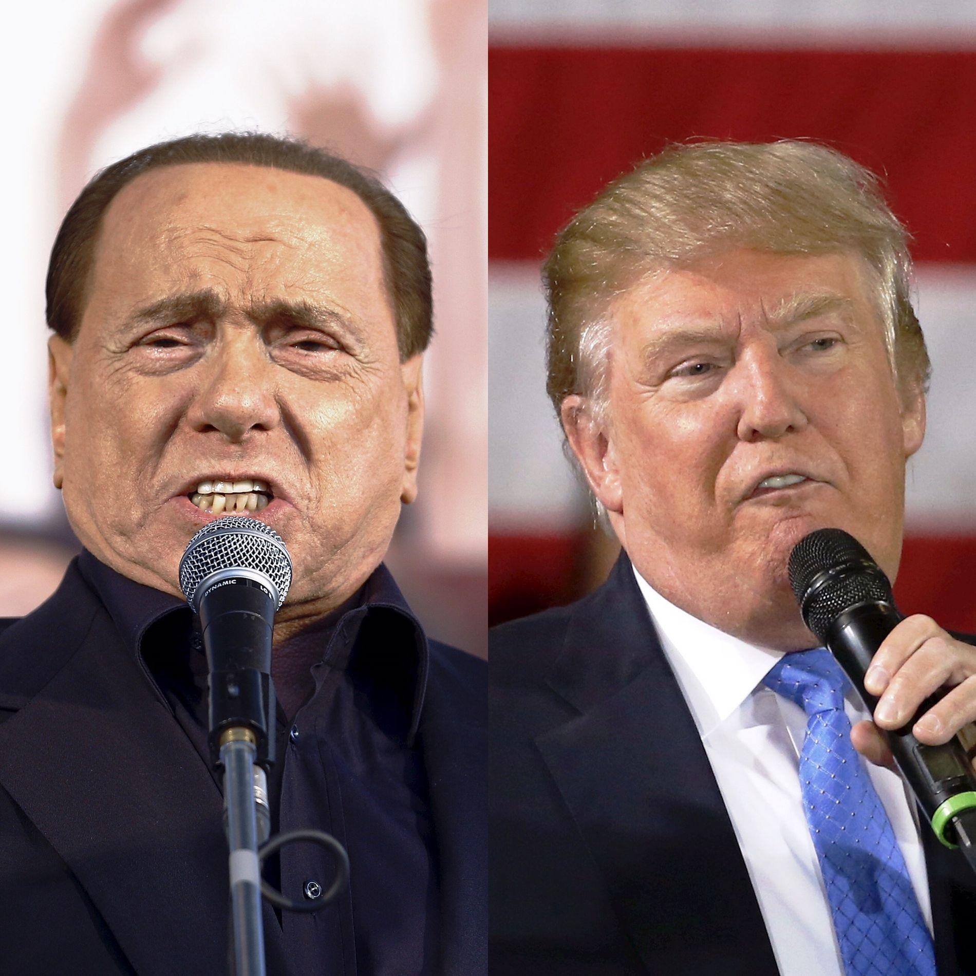 SOM TO DRÅPER VANN?: Italias skandaliserte eks-statsminister Silvio Berlusconi er ti år eldre og omtrent dobbelt så rik som den amerikanske president-utfordreren Donald Trump, ifølge Forbes milliardærliste. Men ellers er det mye som forener fembarnsfedrene.