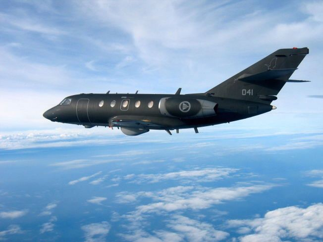 FLYVENDE KRIGERE: En norsk DA-20 Jet Falcon fra Luftforsvaret - Forsvarets fly for elektronisk krigføring.