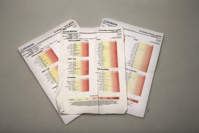 LIKE TESTER - ULIKE RESULTAT: Dette er BioTek-testene, som skal avsløre matintoleranse, som ble tatt på privatklinikker.