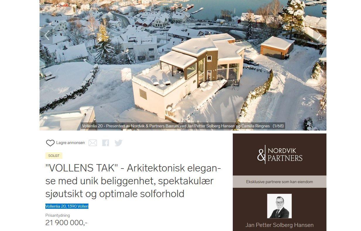 ASKER-IDYLL: – Huset ligger i et idyllisk og barnevennlig område med nærhet til sjøen som Ulrik, Severin, hundene og jeg kommer til å elske, skriver «Pilotfrue» om det nye huset, som hadde en prisantydning på 21,9 millioner kroner.