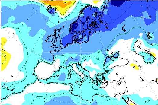 HUTTETU: Det franske værselskapet Meteo France spår guffen sommer i Nord-Europa – inntil to grader under normalen på Vestlandet som snitt for perioden mai, juni og juli.