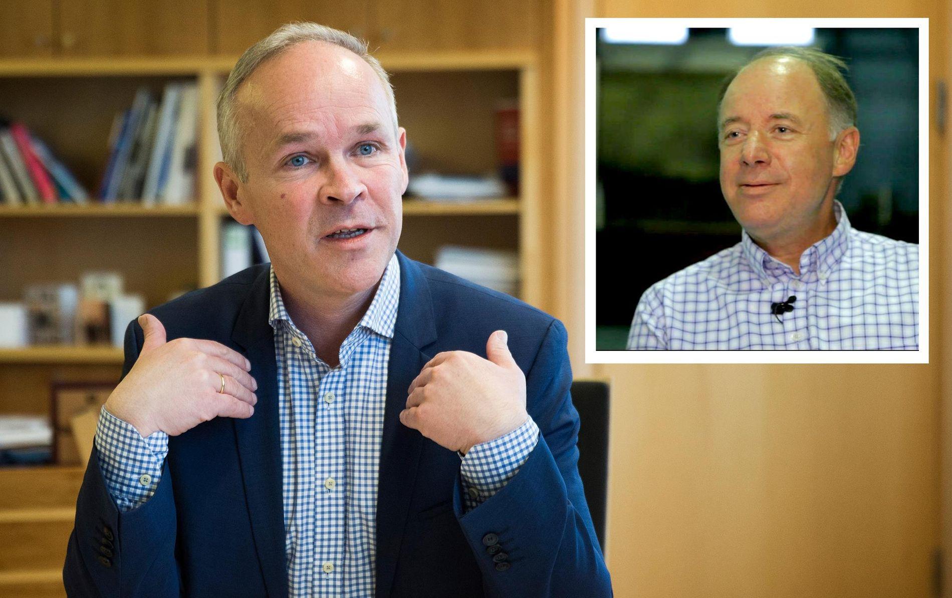 SLAKTER KOMMUNEREFORMEN: Ordfører i Sel kommune Dag Erik Pryhn (Ap) (t.h.) har liten tro på at regjeringen og kommunalminister Jan tore Sanner (H) (t.v.) klarer å samle Kommune-Norge ved frivillighet.