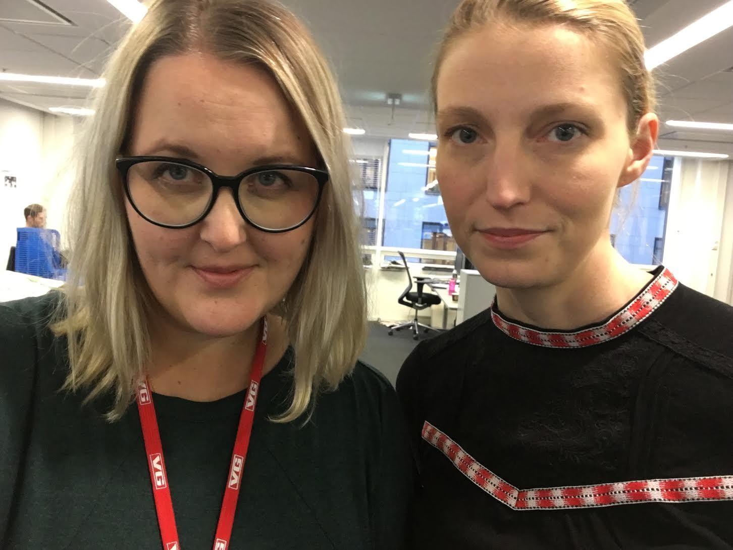 VANT PRIS: Synnøve Åsebø (t.v) og Mona Grivi Norman er journalistene som står bak prosjektet som vant pris fredag kveld.