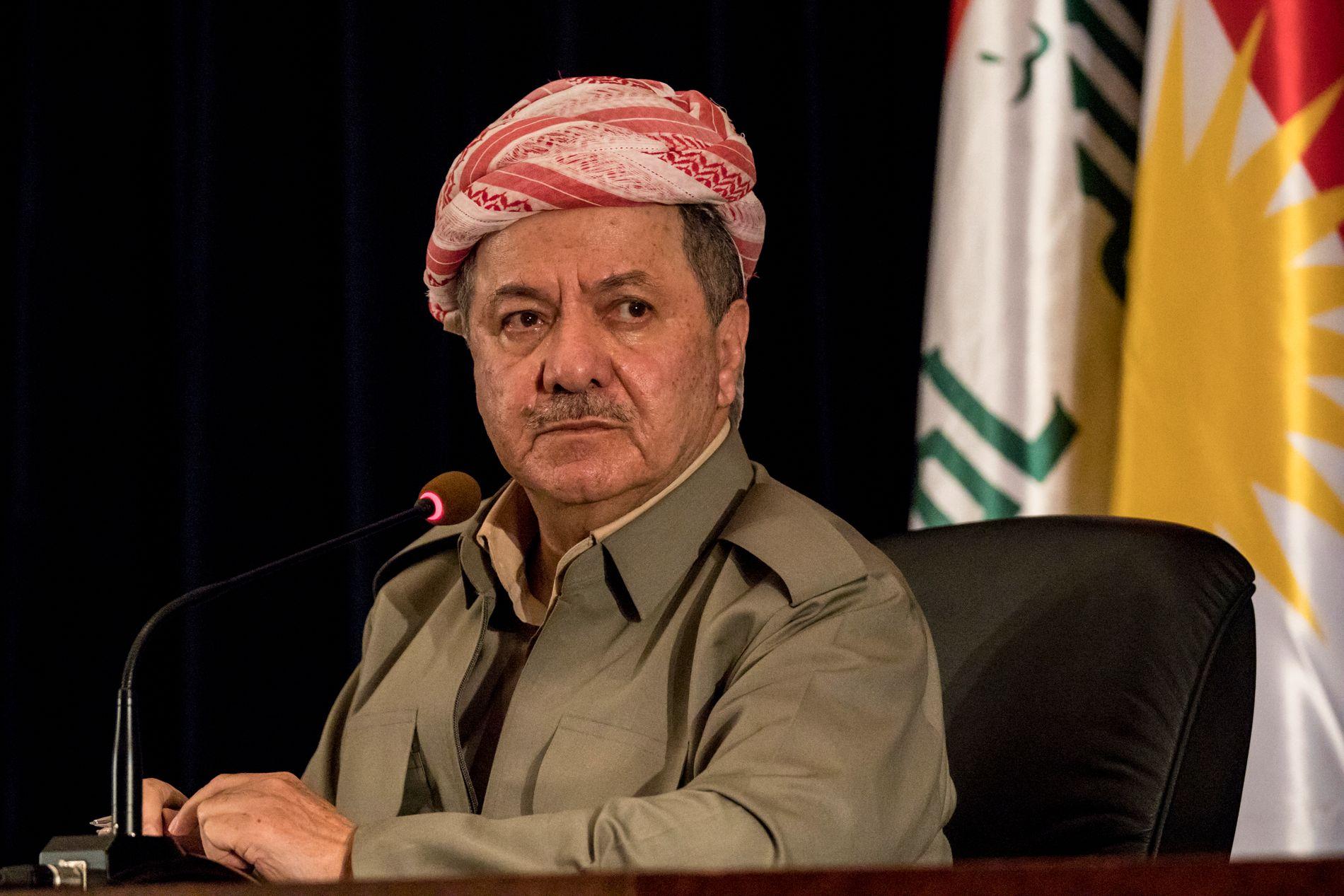 BER OM PATRIOTISME: Masoud Barzani, president i KRG, manet under en pressekonferanse i sitt presidentpalass 24. september til frigjøring fra Bagdad. Nå ber han om forening.