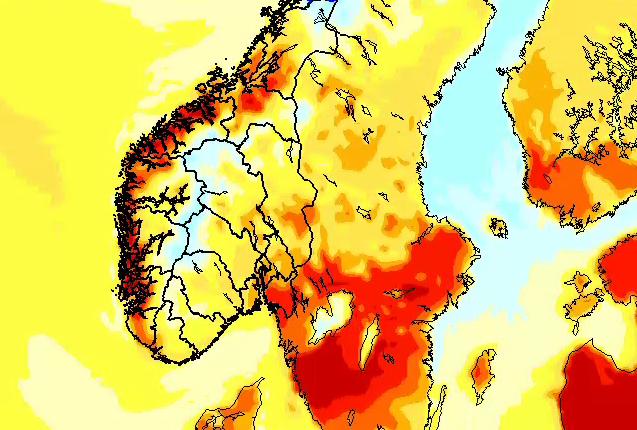 LUN HELG KOMMER: Slik ser temperaturkartet ut for lørdag – gode temperaturer på 15–16 grader på Østlandet, Sørlandet og i Midt-Norge, mens Vestlandet kan bikke 20 pluss. Den mørkeste rødfargen indikerer 20–25 grader.