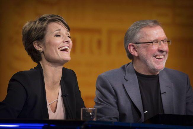 VELLYKKET FØRSTEDAG: Pernille Sørensen og Aftenpostens Harald Stanghelle fikk trent lattermusklene en rekke ganger i løpet av opptakstimene. Sistnevnte var meget fornøyd med programmets nye lagleder.